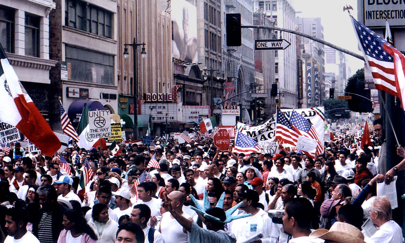 La Gran Marcha (translated as 'The Great March') was the largest march in American history. It occurred in the city streets of downtown Los Angeles on 3-25-06.