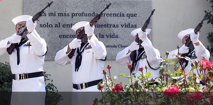 Navy Honor Guard Salutes Cesar Chavez Military Service