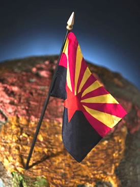 Flag of Arizona on Globe