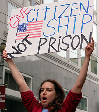 A female Los Angeles high school student walkout protestor on March 27, 2006