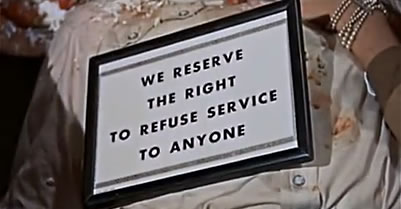 sign allowing refusal of service to Mexicans in movie Giant (1956)
