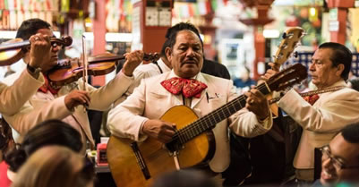 Mariachi musicians playing in Mexico City