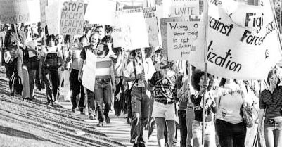 Protest against forced sterilization in California at USC Los Angeles County Hospital 1974