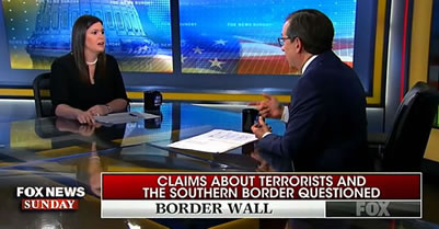 Sarah Sanders is fact checked about false border data by Chris Wallace of Fox News