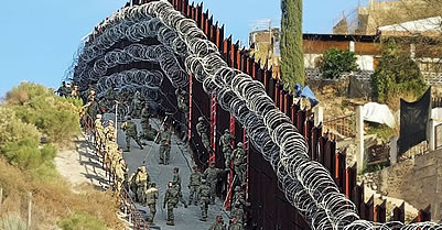 Barbed wire at U.S. Mexico Border fence