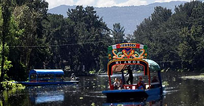 Trajinera at the Chinampas via Canals of Xochimilco