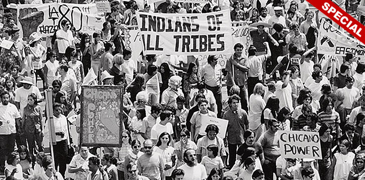 Chicano Moratorium crowd with Chicano Power signs Aug. 29, 1970
