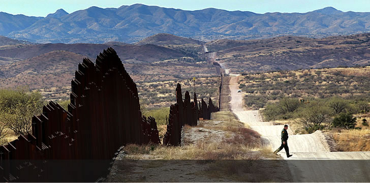 U.S. Mexico border fence near Nogales, AZ